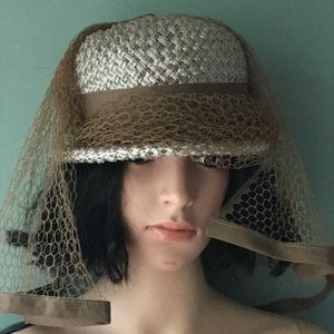 Vintage Straw Hat with Mesh Detail